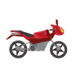 drawing red motorcycle transport image vector image