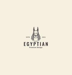 Egypt anubis dog lines logo symbol icon design vector