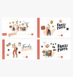 family photo landing page template set mother and vector image