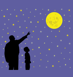 Father showing full moon to his amazed child vector