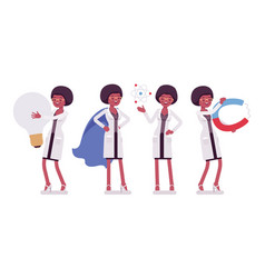 female black scientist and giant things vector image
