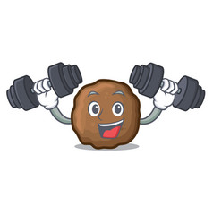 Fitness meatball character cartoon style vector