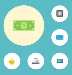 Flat icons money till money box and other vector