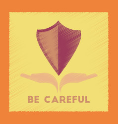 Flat shading style icon be careful hand shield vector