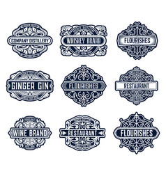 flourishes lables luxury templates with ornament vector image