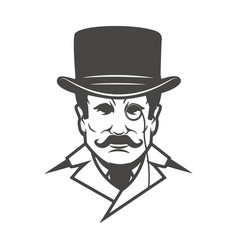 gentleman head isolated on white background vector image vector image