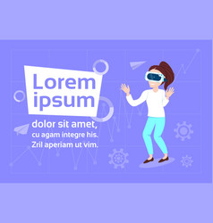 girl in vr glasses over background with copy space vector image