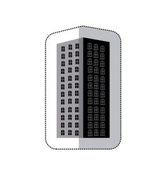 grayscale long build of city icon vector image