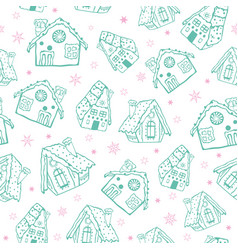 Green on white gingerbread houses christmas vector