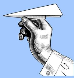 hand with a paper plane vector image