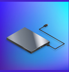 hard disk drive hdd isometric on blue background vector image