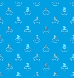 hot cupcake pattern seamless blue vector image