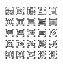 house heating system line icons or symbols vector image