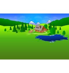 Hut in forest scene vector