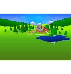Hut in Forrest Scene vector image