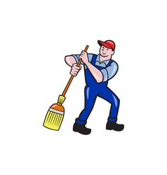 Janitor Cleaner Holding Mop Bucket Cartoon vector image