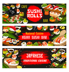 Japanese cuisine and sushi bar banners vector