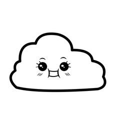 Kawaii cloud with facial expressions cartoon funny vector