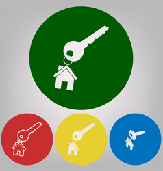 Key with keychain as an house sign 4 vector