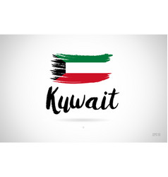 Kuwait country flag concept with grunge design vector
