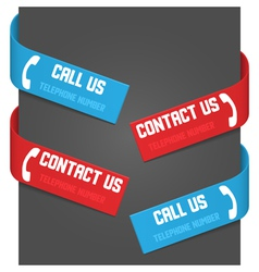 left and right side signs - call us and contact us vector image