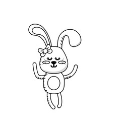 Line cute rabbit girl wild animal character vector