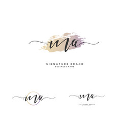 m a initial letter handwriting and signature logo vector image