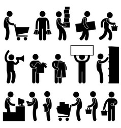 Man shopping cart market retail sale queue a set vector