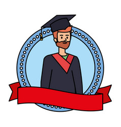 Man student graduated with beard in emblem vector