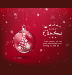 marry christmas transparent glossy christmas vector image