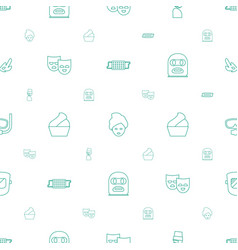 Mask icons pattern seamless white background vector