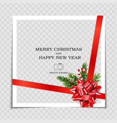 Merry christmas and happy new year photo frame vector