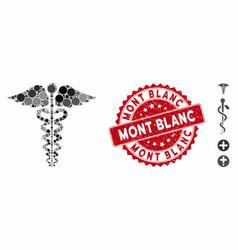 Mosaic medical caduceus emblem icon with textured vector