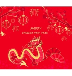 New Year Background with Dragon and Monkey vector image