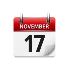 November 17 flat daily calendar icon vector