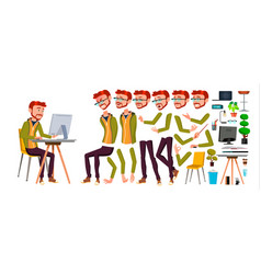 office worker red head ginger animation vector image
