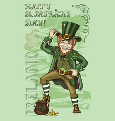 Patricks day card with leprechaun vector