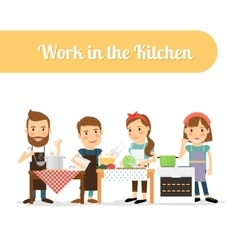 People in the kitchen cooking food vector