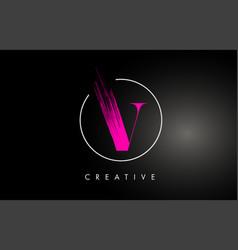 Pink v brush stroke letter logo design paint vector