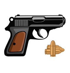 pistol gun handgun weapon shot with bullets vector image
