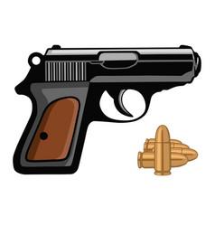 pistol gun handgun weapon shot with bullets vector image