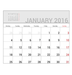Planners for 2016 january vector