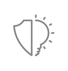 protective shield with light bulb line icon vector image