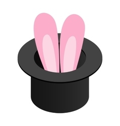 Rabbit in the hat isometric 3d icon vector
