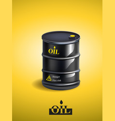 Realistic black metal oil barrel vector