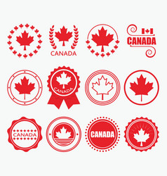 Red canada flag emblems and design element set vector