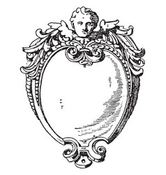 renaissance strap-work frame was an invention of vector image