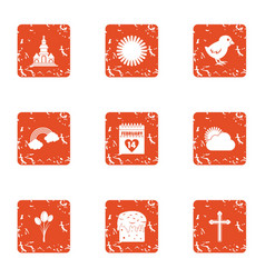Scorching icons set grunge style vector