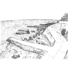 Sea coast with piers and rocky shore vector image