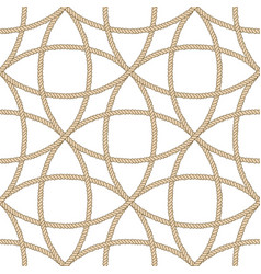 Seamless nautical rope pattern beige on white vector